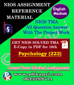 NIOS Psychology 222 Solved Assignment-10th-English Medium