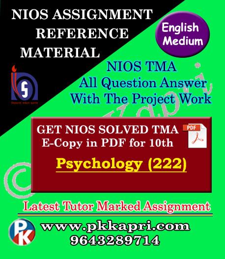 NIOS Psychology 222 Solved Assignment-10th-English Medium