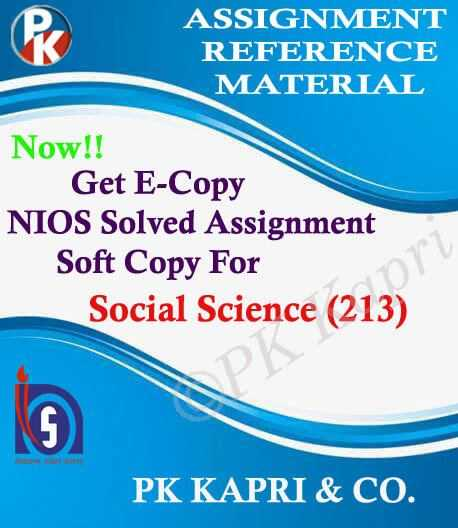 NIOS Social Science 213 Solved Assignment-10th
