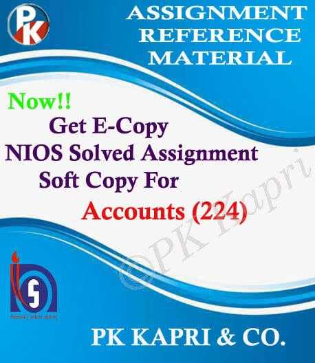 NIOS Accountancy 224 Solved Assignment