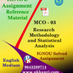 IGNOU MCO 3 RESEARCH METHODOLOGY AND STATISTICAL ANALYSIS SOLVED ASSIGNMENT IN ENGLISH MEDIUM