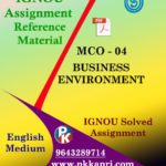 IGNOU MCO 4 BUSINESS ENVIRONMENT SOLVED ASSIGNMENT IN ENGLISH MEDIUM