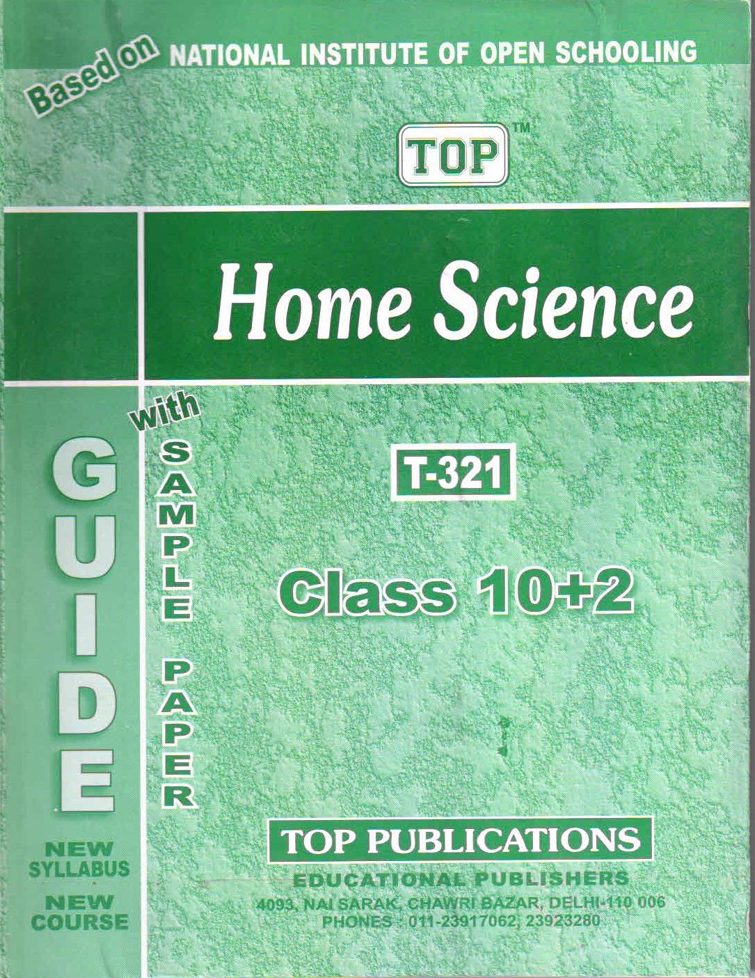 NIOS Home Science 321 Guide Books 12th English Medium