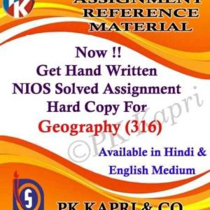 Handwritten Solved Assignment Geography 316
