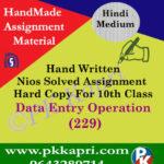 data entry operation 229 nios solved assignment hindi medium
