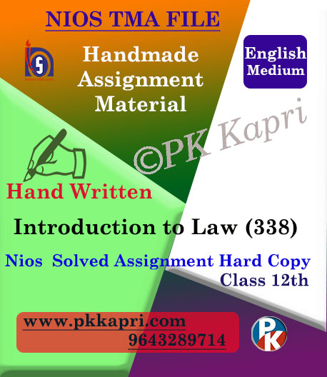 Nios Handwritten Solved Assignment Introduction To Law 338 English Medium