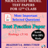 Biology_314 Nios Model Test Paper_12th English Medium_Pdf with Most Important Questions