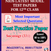 English Medium Nios Senior Secondary 331 Sociology -12th Online Nios Model Test Paper (Pdf) + Most Important Questions