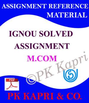 Ignou m.com Solved Assignment