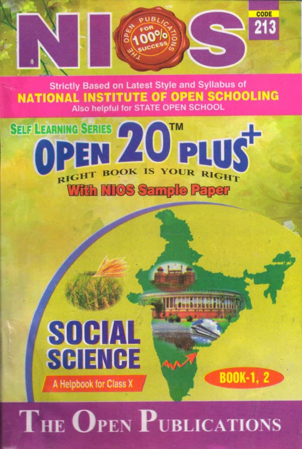 Nios Revision Book Social Science (213) Open 20 Plus Self Learning Series English Medium