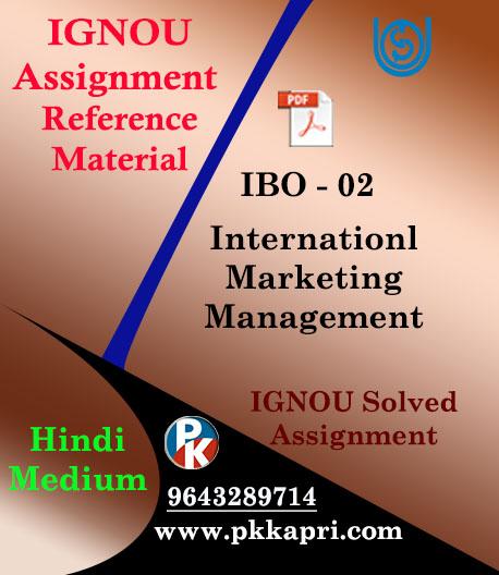 IGNOU IBO 2 INTERNATIONAL MARKETING MANAGEMENT-HINDI MEDIUM