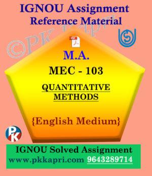 Ignou Solved Assignment- MA |MEC-003 : Quantitative Methods in English Medium
