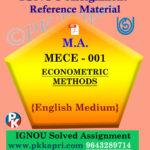 Ignou Solved Assignment- MA  MECE-001: ECONOMETRIC METHODS in English Medium
