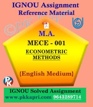 Ignou Solved Assignment- MA |MECE-001: ECONOMETRIC METHODS in English Medium