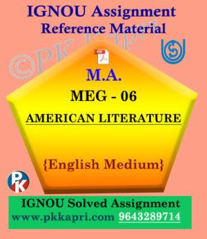 IGNOU Solved Assignment | MEG-06 AMERICAN LITERATURE