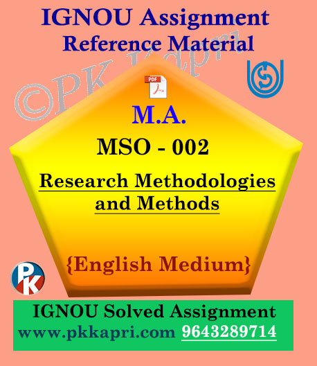 Ignou MSO-002 Research Methods And Methodologies Solved Assignment English Medium