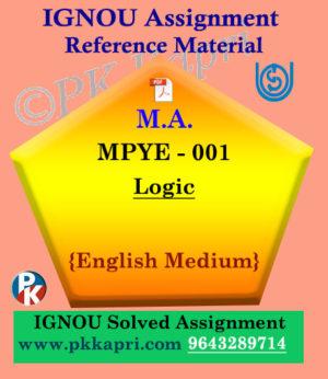IGNOU MPYE-001 Logic Solved Assignment in English Medium pdf