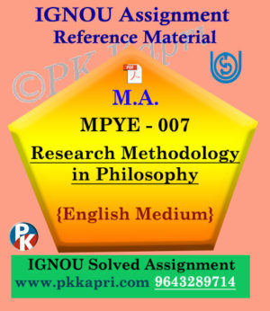 IGNOU MPYE-007 Research Methodology Solved Assignment In English