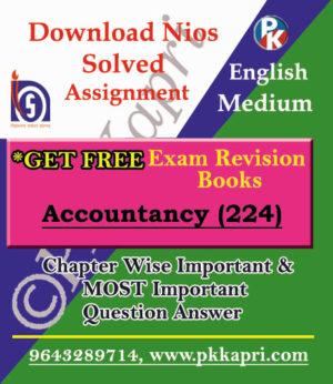 NIOS Accountancy TMA (224) Solved English Medium in PDF
