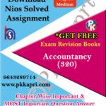 320 Accountancy NIOS TMA Solved Assignment 12th English Medium in Pdf