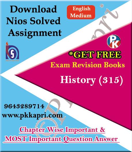 315 History NIOS TMA Solved Assignment 12th English Medium in Pdf