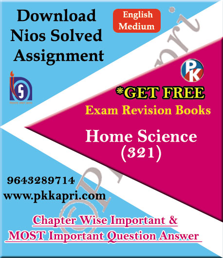 321 Home Science NIOS TMA Solved Assignment 12th English Medium in Pdf