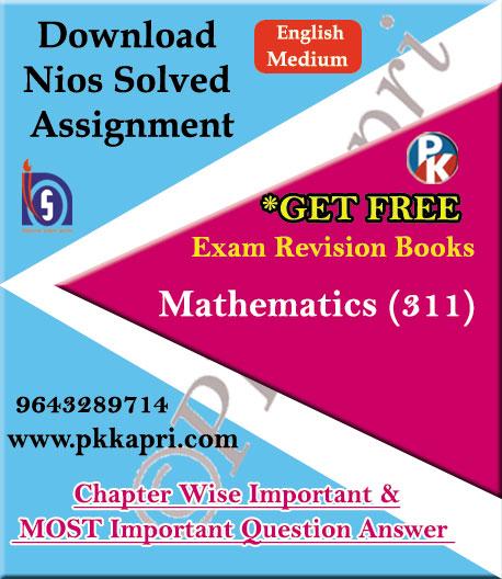 311 Mathematics NIOS TMA Solved Assignment 12th English Medium in Pdf