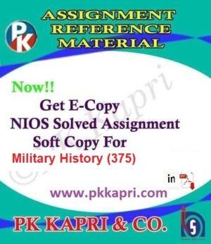Military History (375) Nios Solved Assignment (Hindi Medium) Pdf