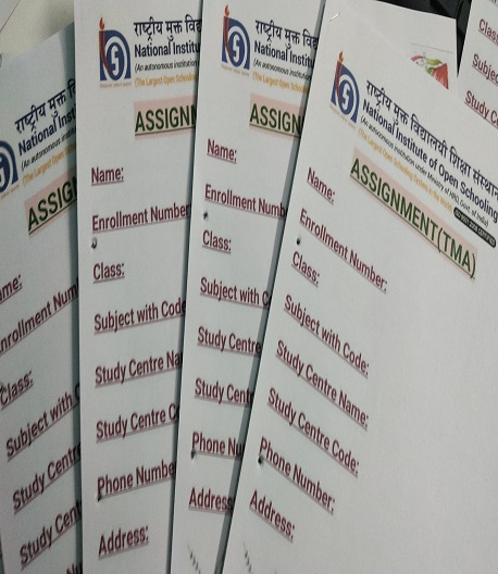 NIOS TMA (Tutor Marked Assignment) Files Front Page & Submission Receipt