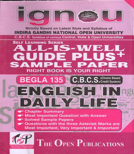 IGNOU BEGLA 135 English in Daily Life Guide Plus Sample Paper