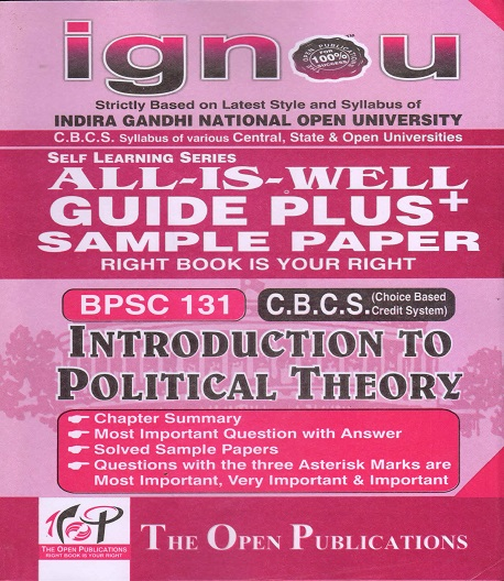IGNOU BPSC131 Introduction To Political Theory Guide Plus Sample Paper English Medium