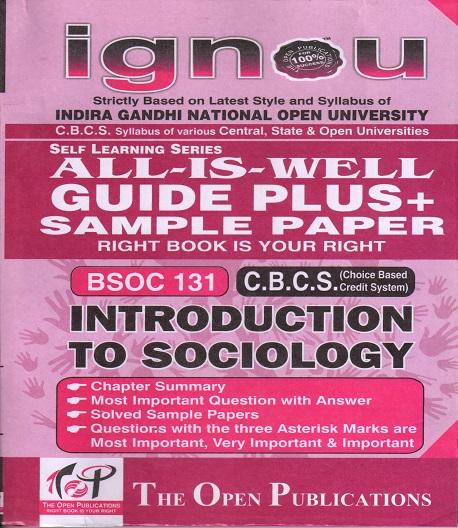 IGNOU BSOC 131 Introduction To Sociology Guide Plus Sample Paper English Medium