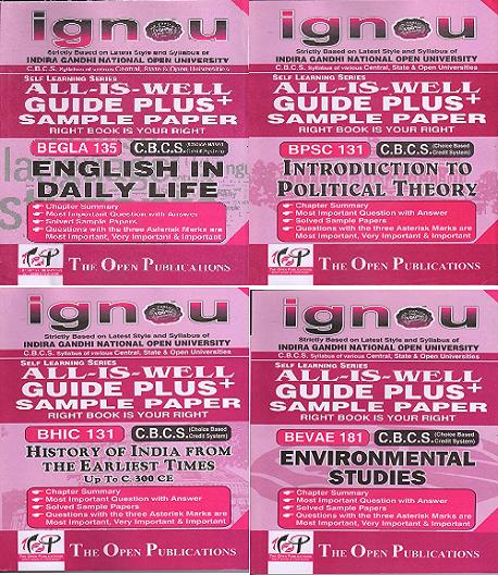 COMBO OFFER IGNOU GUIDE BOOKS BEGLA 135+BPSC131+BHIC131+BEVAE 181 Plus Sample Paper