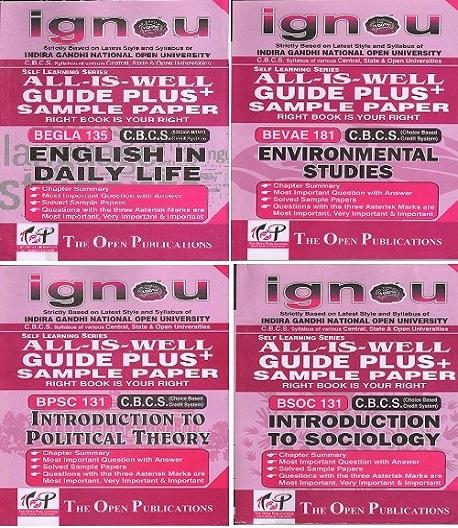 COMBO OFFER IGNOU GUIDE BOOKS BEGLA 135+BPSC131+BSOC131+BEVAE 181 Plus Sample Paper
